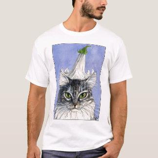 青い背景のTシャツのユリの帽子を持つ猫 Tシャツ
