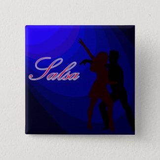 青い背景を持つサルサのダンサーのシルエット 5.1CM 正方形バッジ