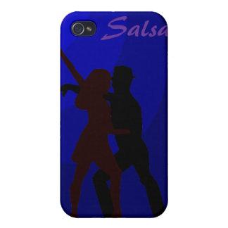 青い背景を持つサルサのダンサーのシルエット iPhone 4 CASE