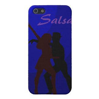 青い背景を持つサルサのダンサーのシルエット iPhone 5 CASE