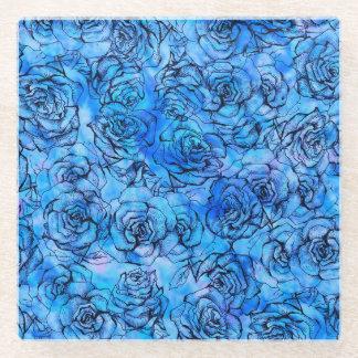 青い背景パターンの美しいバラ ガラスコースター