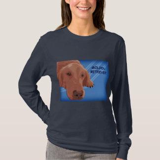 青い背景-ベクトル芸術のゴールデン・リトリーバー Tシャツ