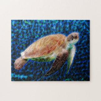 青い背景Honuのウミガメ ジグソーパズル