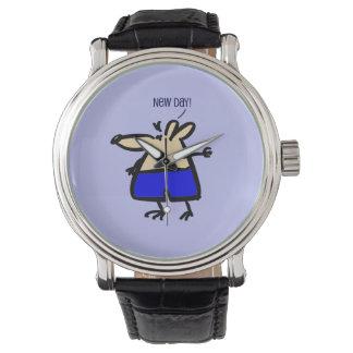 青い腕時計の新しい日のおもしろいのマウス 腕時計