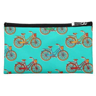 青い自転車のスエードの化粧品のバッグ コスメティックバッグ