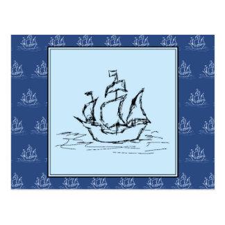 青い船パターンの海賊船 ポストカード