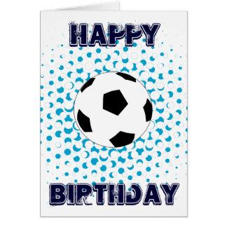 青い色のサッカーボール、ハッピーバースデー カード