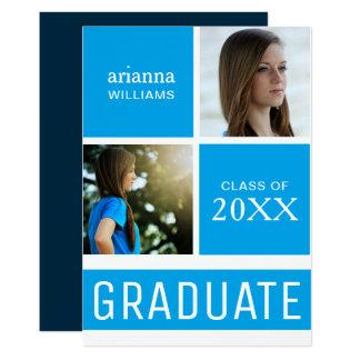 青い色のブロックのモダンな写真の卒業パーティー 12.7 X 17.8 インビテーションカード