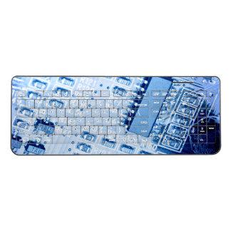 青い色のモダンなマザーボードパターン ワイヤレスキーボード