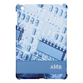 青い色のモダンなマザーボードパターン iPad MINIケース