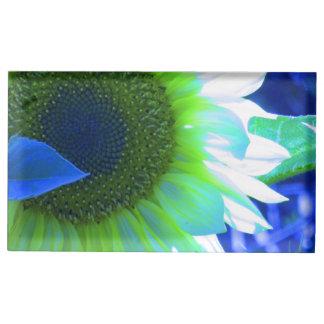 青い色合いが付いているヒマワリ テーブルカードホルダー