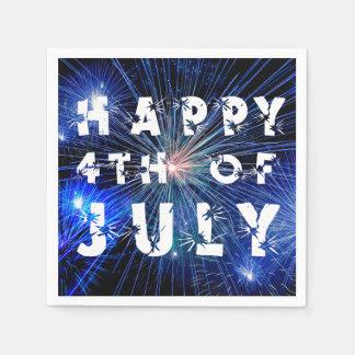 青い色相の幸せな第4の7月の花火の第4 スタンダードカクテルナプキン