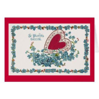 青い花およびハート カード