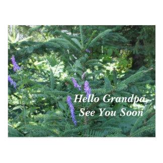 青い花および松の木 ポストカード