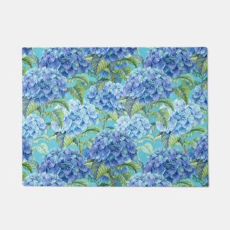 青い花のアジサイの花模様 ドアマット