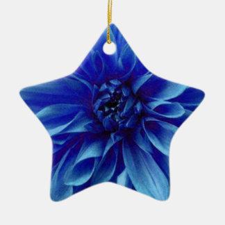 青い花のダリアの花模様 セラミックオーナメント
