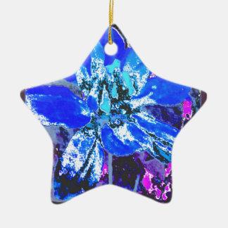 青い花のダリアの花模様 陶器製星型オーナメント