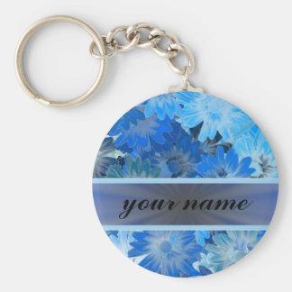 青い花のデイジーパターン キーホルダー