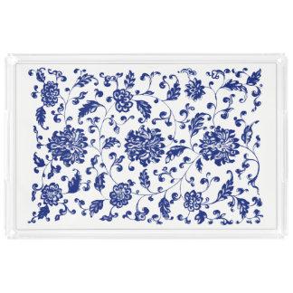 青い花のトレイ アクリルトレー