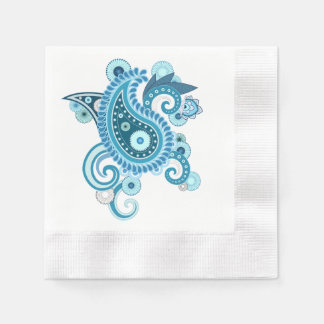 青い花のナプキン 縁ありカクテルナプキン