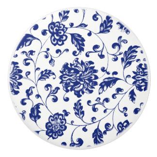 青い花のノブ セラミックノブ