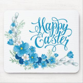 青い花のハッピーイースターのマウスパッド マウスパッド