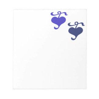 青い花のハートのメモ帳 ノートパッド
