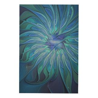 青い花のファンタジーパターン、抽象的なフラクタルの芸術 ウッドウォールアート