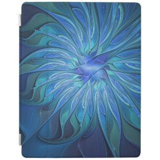 青い花のファンタジーパターン、抽象的なフラクタルの芸術 iPadスマートカバー