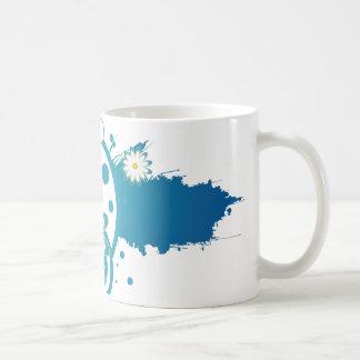 青い花のペンキのしぶきのマグ コーヒーマグカップ