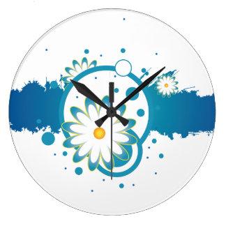 青い花のペンキのしぶきの柱時計 ラージ壁時計