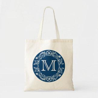 青い花のモノグラムの トートバッグ