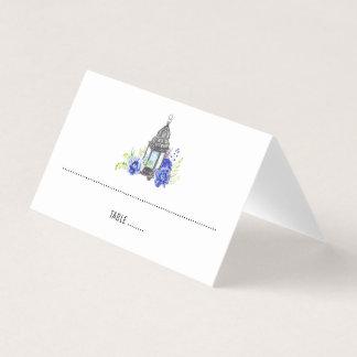 青い花のランタンの結婚式 プレイスカード