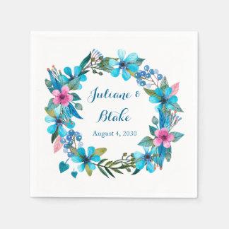 青い花のリース スタンダードカクテルナプキン