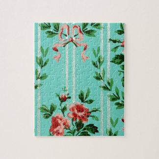 青い花のヴィンテージの壁紙 ジグソーパズル