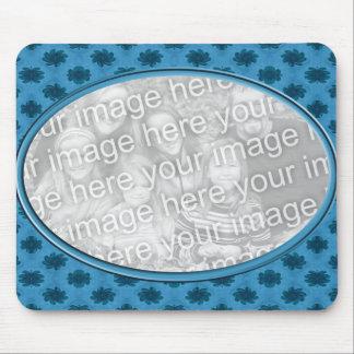 青い花の写真フレーム マウスパッド