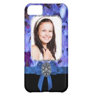 青い花の名前入りな写真 iPhone5Cケース