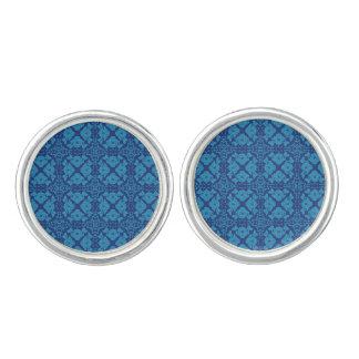 青い花の幾何学的なPattternの青 カフスリンク