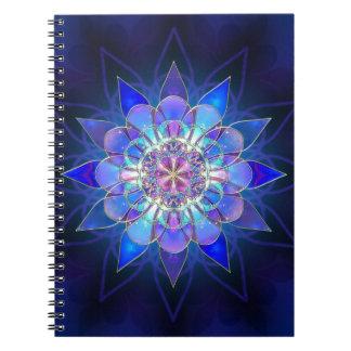 青い花の曼荼羅のフラクタル ノートブック