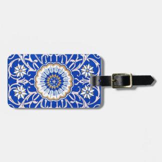 青い花の曼荼羅パターン ラゲッジタグ