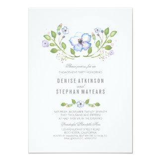青い花の水彩画の婚約パーティ カード