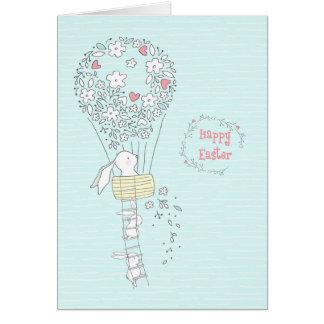 青い花の熱気の気球のイースターのウサギ カード