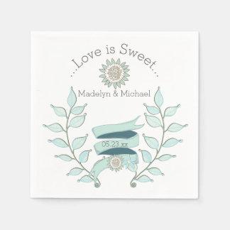 青い花の結婚式の紙ナプキン スタンダードカクテルナプキン