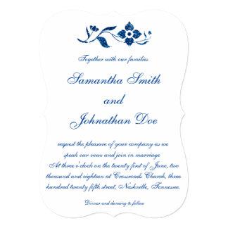 青い花の結婚式 12.7 X 17.8 インビテーションカード