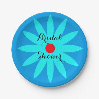 青い花の花柄パターンブライダルシャワーのカッコいい ペーパープレート