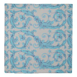 青い花の装飾用のヴィンテージ 掛け布団カバー
