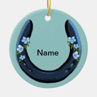 青い花の蹄鉄 セラミックオーナメント