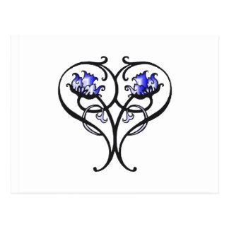 青い花をスクロールするヴィンテージ ポストカード