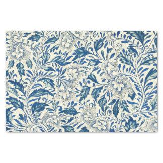 青い花パターンアンティークのヴィンテージ 薄葉紙