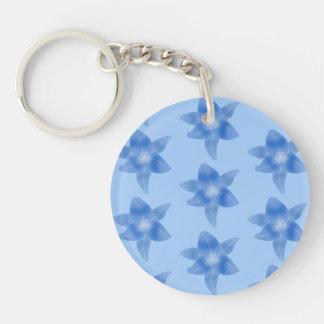 青い花パターン キーホルダー